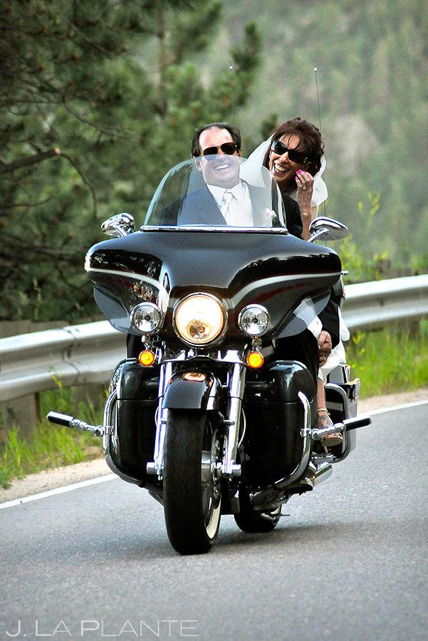 Bride and Groom Leaving Ceremony on Motorcycle | Flagstaff Sunrise Amphitheater Wedding | Boulder Wedding Photographer | J. La Plante Photo
