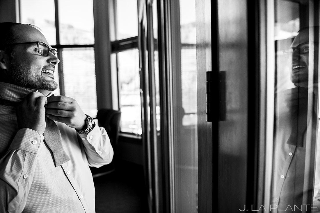 Groom Tying Bow Tie | Colorado Wedding Photographer | J. La Plante Photo