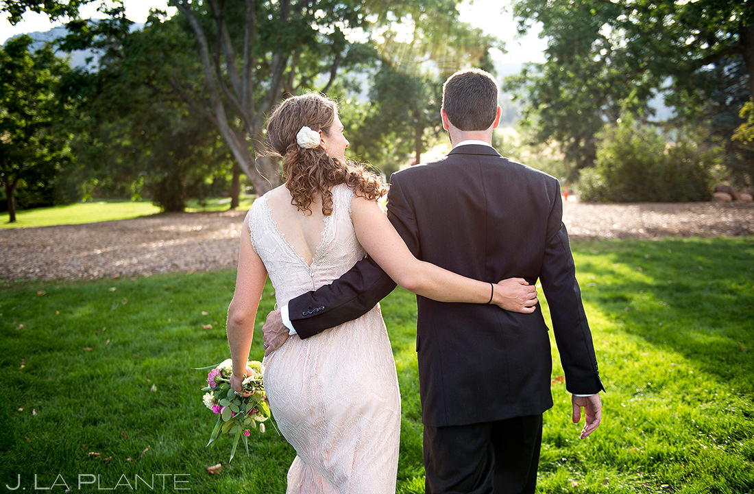 Bride and Groom Walking Through Park | Chautauqua Park Wedding | Boulder Wedding Photographer | J. La Plante Photo