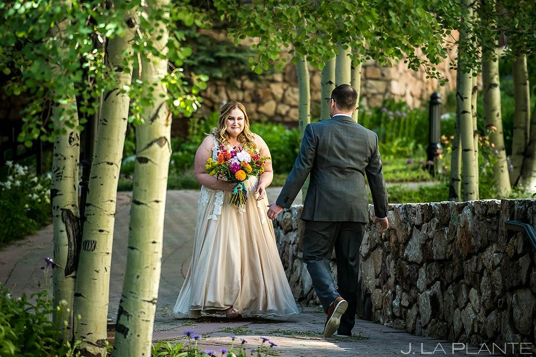 Bride and Groom First Look | Beaver Creek Lodge Wedding | Beaver Creek Wedding Photographer | J. La Plante Photo