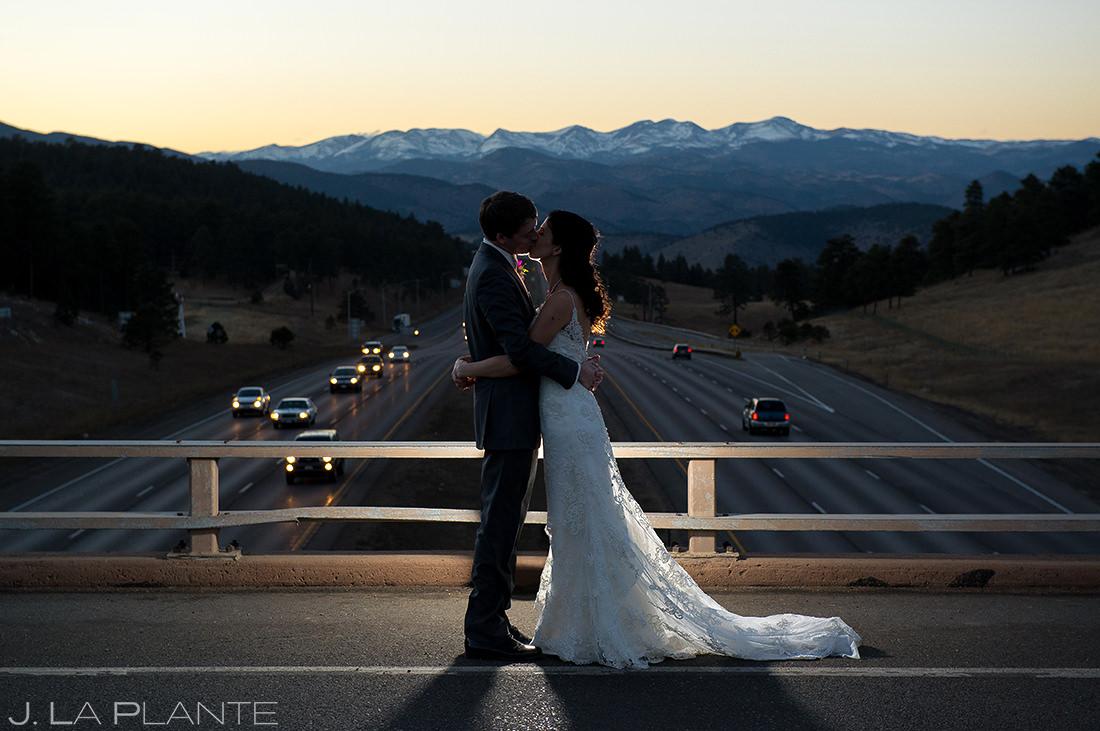 Bride and Groom Sunset Wedding Photo | Pines at Genesee Wedding | Colorado Wedding Photographer | J. La Plante Photo
