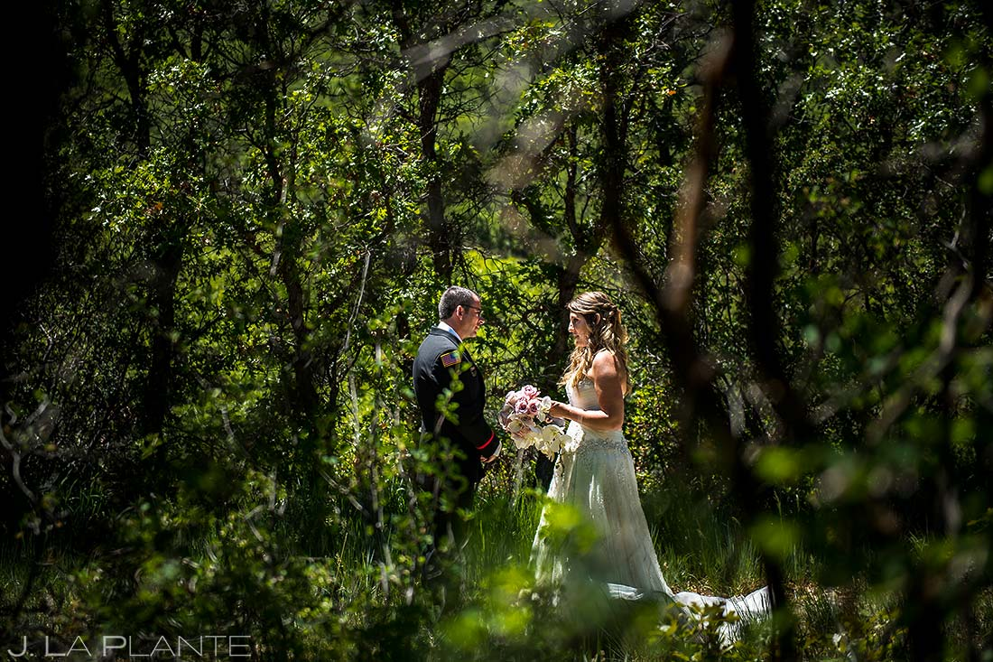 bride and groom reading private vows in glenwood springs