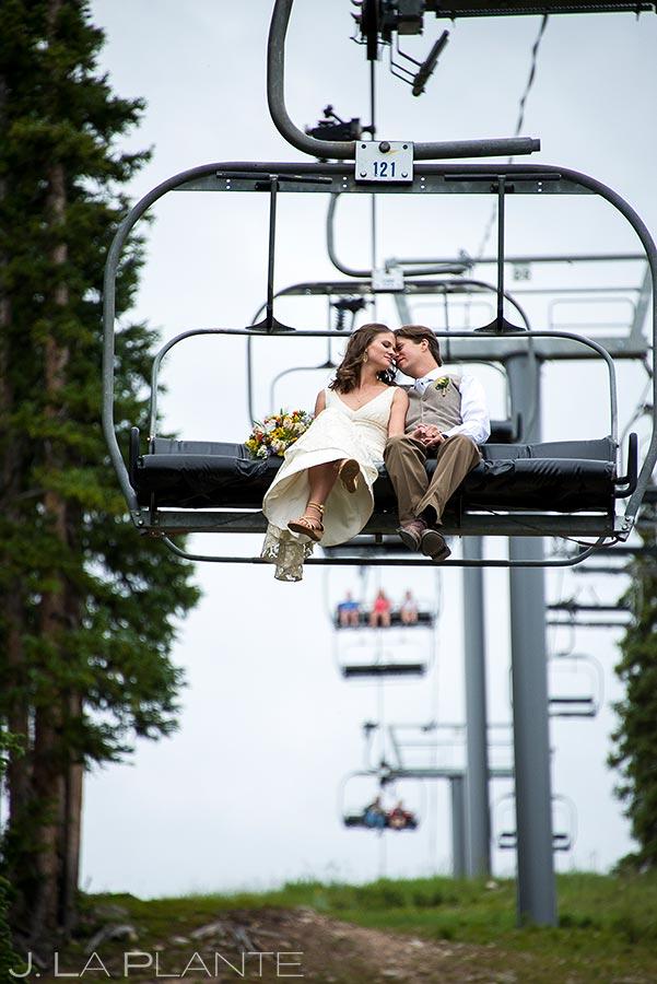 Bride and Groom Riding Chairlift | Copper Mountain Wedding | Copper Mountain Wedding Photographer | J. La Plante Photo