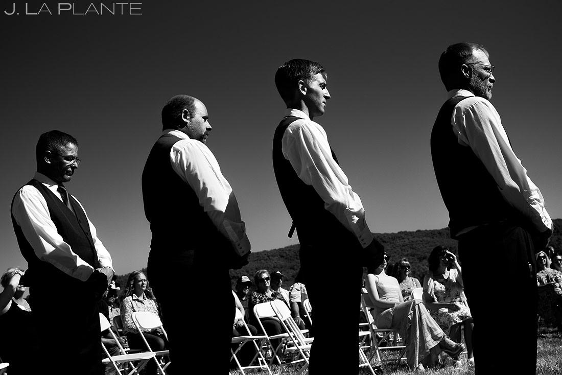 black and white portrait of groomsmen