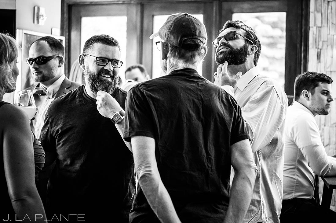 Wedding Guests Hanging Out | Revolution Dining Wedding Reception | Colorado Wedding Photographer | J. La Plante Photo