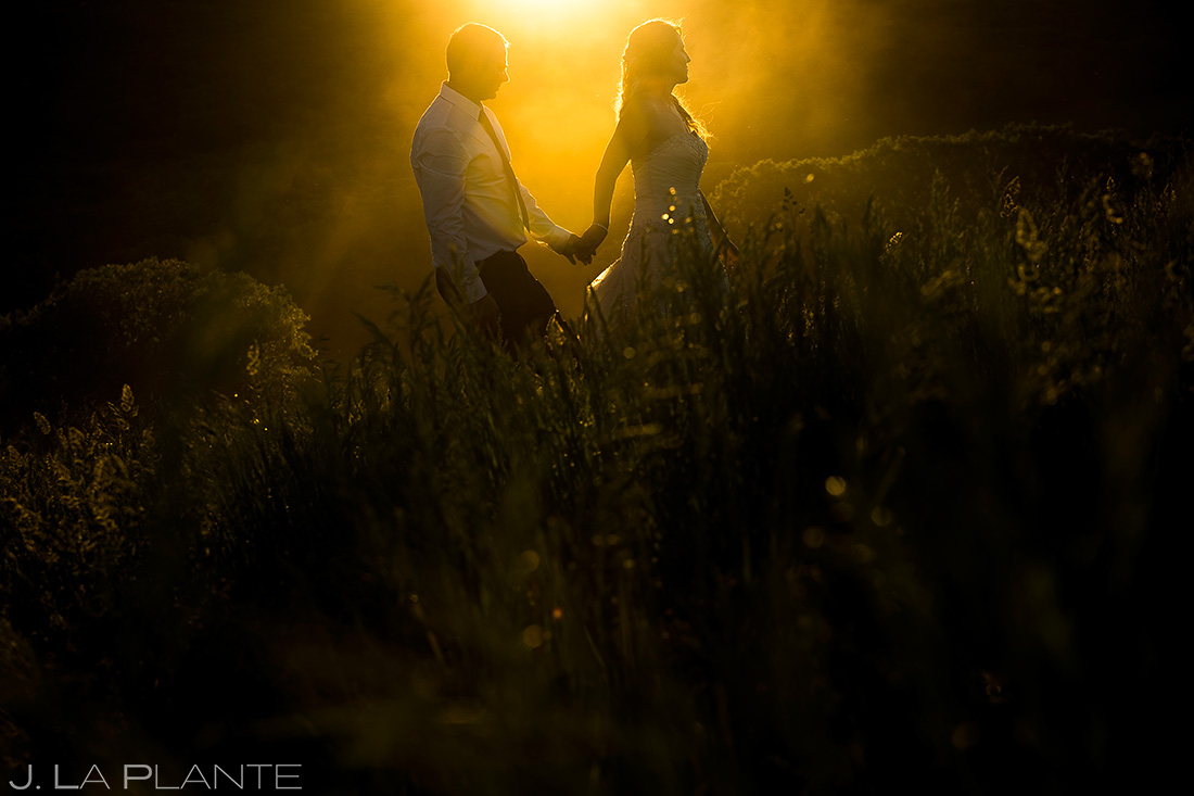 golden hour wedding photo at white owl ranch