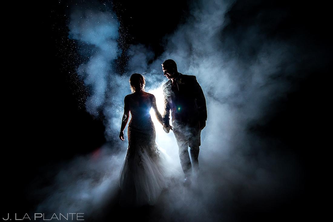 Bride and Groom Nighttime Photo | Devils Thumb Ranch Wedding | Colorado Wedding Photographer | J. La Plante Photo
