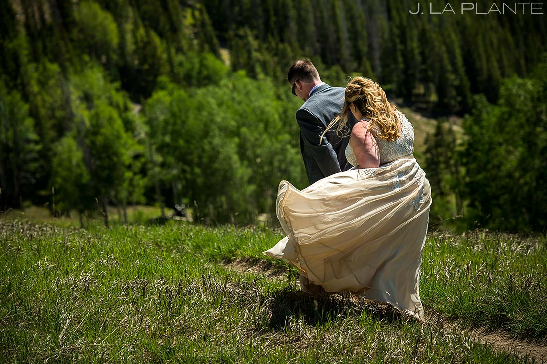 Bride and Groom Hiking | Colorado Wedding Photographer | J. La Plante Photo