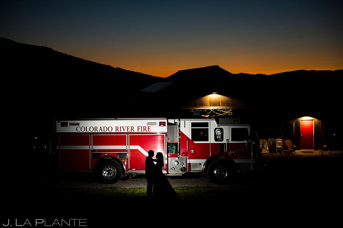 sunset wedding photo at fireman wedding