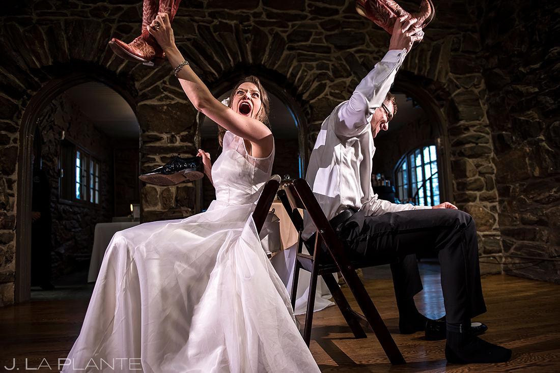 Bride and Groom Shoe Game | Chief Hosa Lodge Wedding | Golden Wedding Photographer | J. La Plante Photo