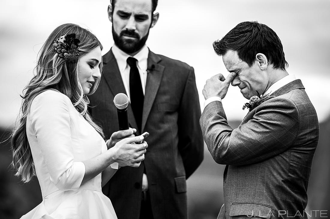 Groom Crying Wedding Vows | Crooked Willow Farms Wedding | Colorado Wedding Photographer | J. La Plante Photo