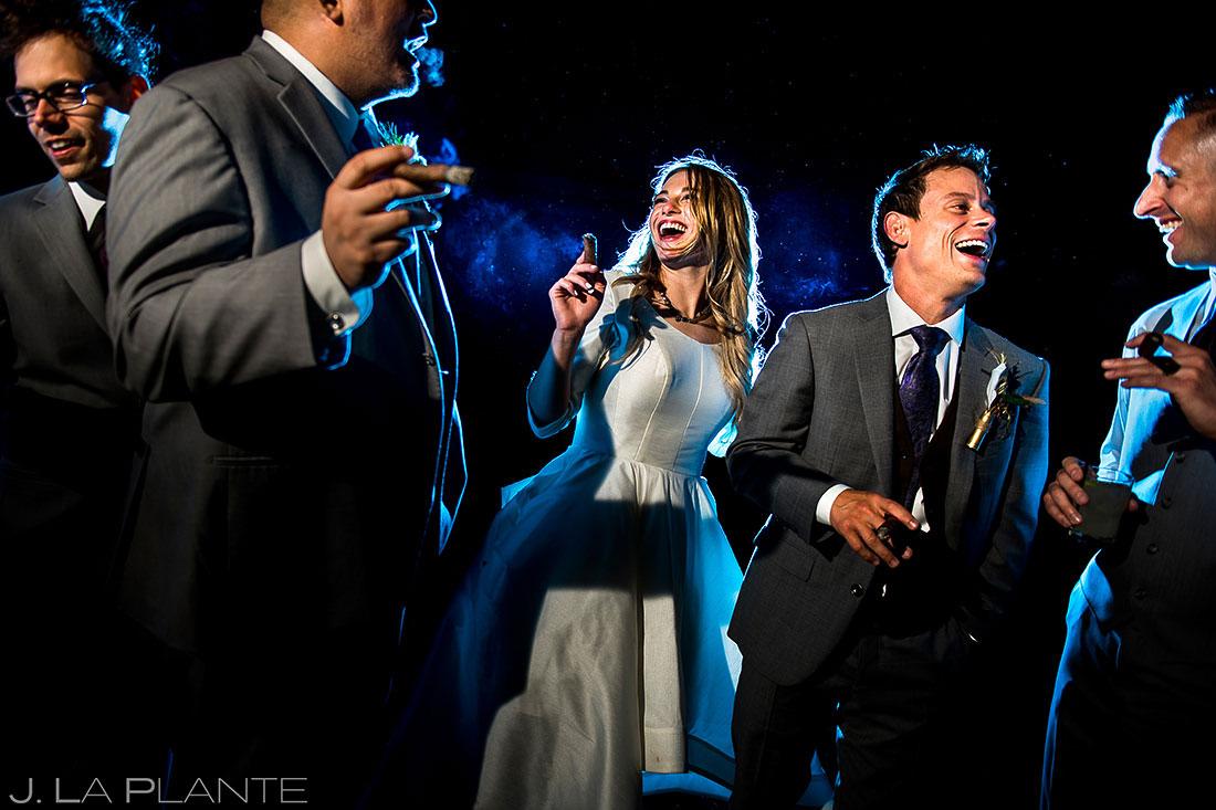 Wedding Party Smoking Cigars | Crooked Willow Farms Wedding | Colorado Wedding Photographer | J. La Plante Photo