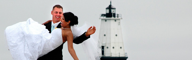 Bride and Groom at Lighthouse | Lake Michigan Destination Wedding | Destination Wedding Photographer | J. La Plante Photo