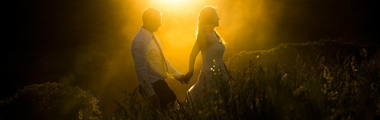 Bride and Groom Sunset Photo   White Owl Ranch Wedding   Colorado Wedding Photographer   J. La Plante Photo