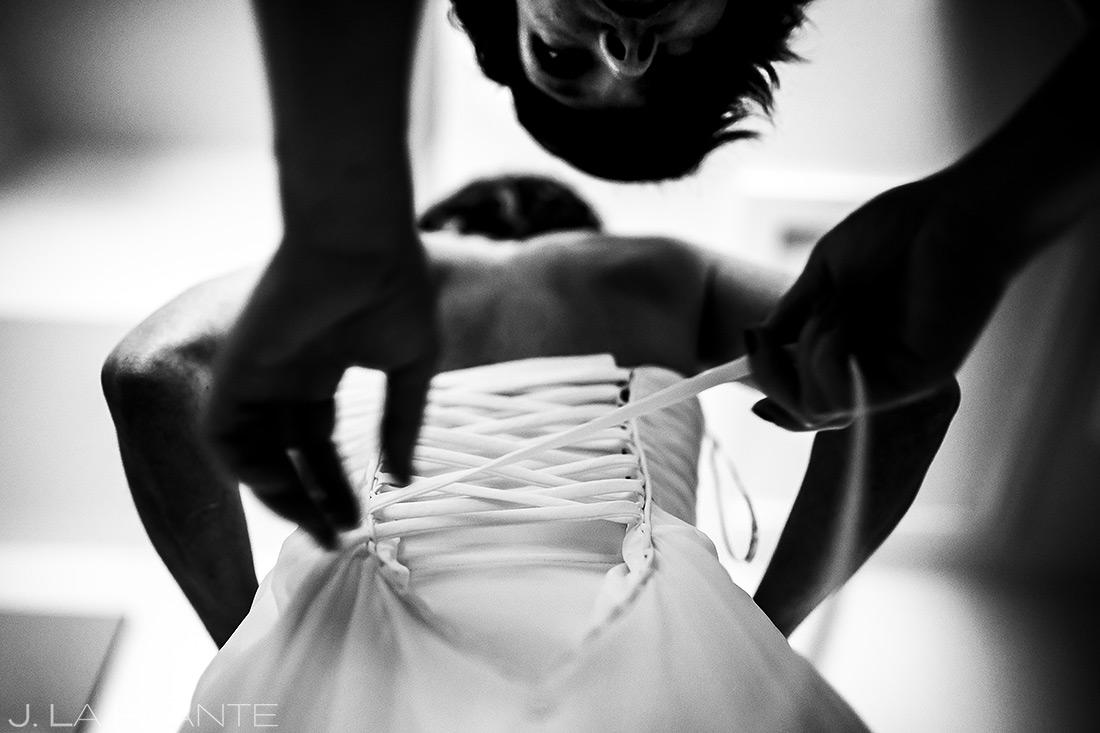 Bride Getting Into Dress | Chautauqua Park Wedding | Boulder Wedding Photographer | J. La Plante Photo