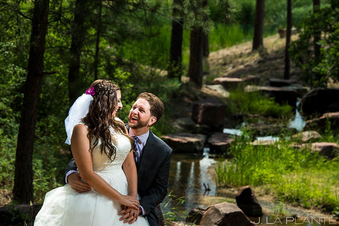 Bride and Groom by River   Colorado Springs Wedding Photographer   J. La Plante Photo
