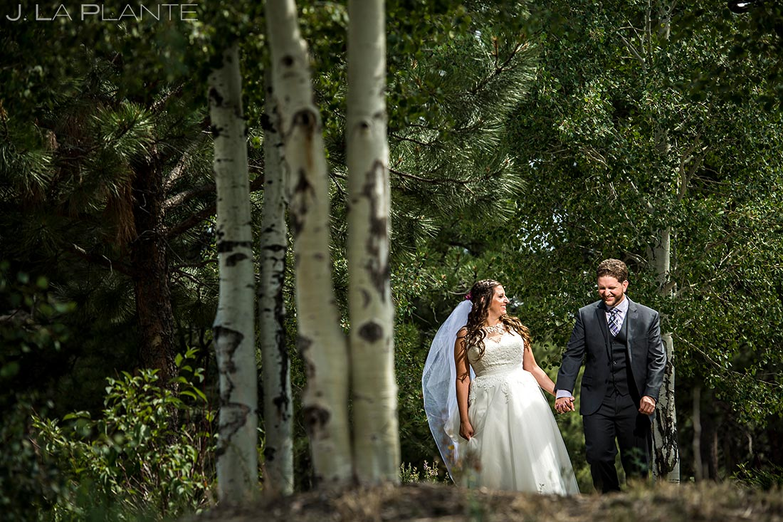 Bride and Groom in Aspen Grove | Lodge at Cathedral Pines Wedding | Colorado Springs Wedding Photographer | J. La Plante Photo