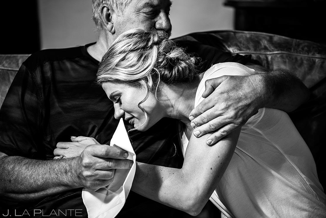 Bride Hugging Father | Steamboat Springs Wedding | Colorado Wedding Photographer | J. La Plante Photo