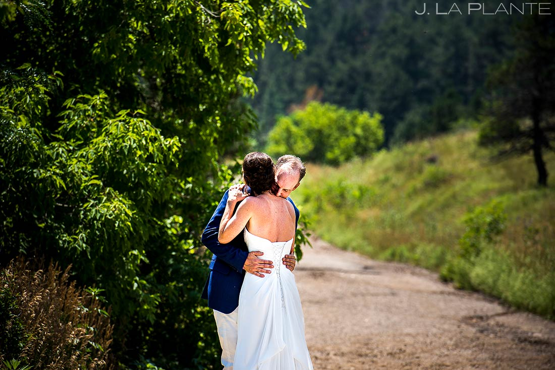 First Look in Chautauqua Park | Boulder Wedding Photographer | J. La Plante Photo