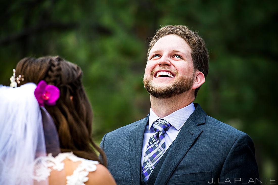 Outdoor Wedding Ceremony   Lodge at Cathedral Pines Wedding   Colorado Springs Wedding Photographer   J. La Plante Photo