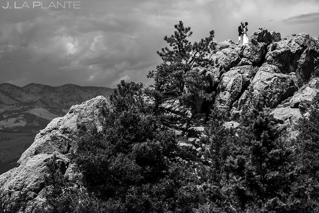 Bride and Groom on Flagstaff Mountain | Chautauqua Park Wedding | Boulder Wedding Photographer | J. La Plante Photo