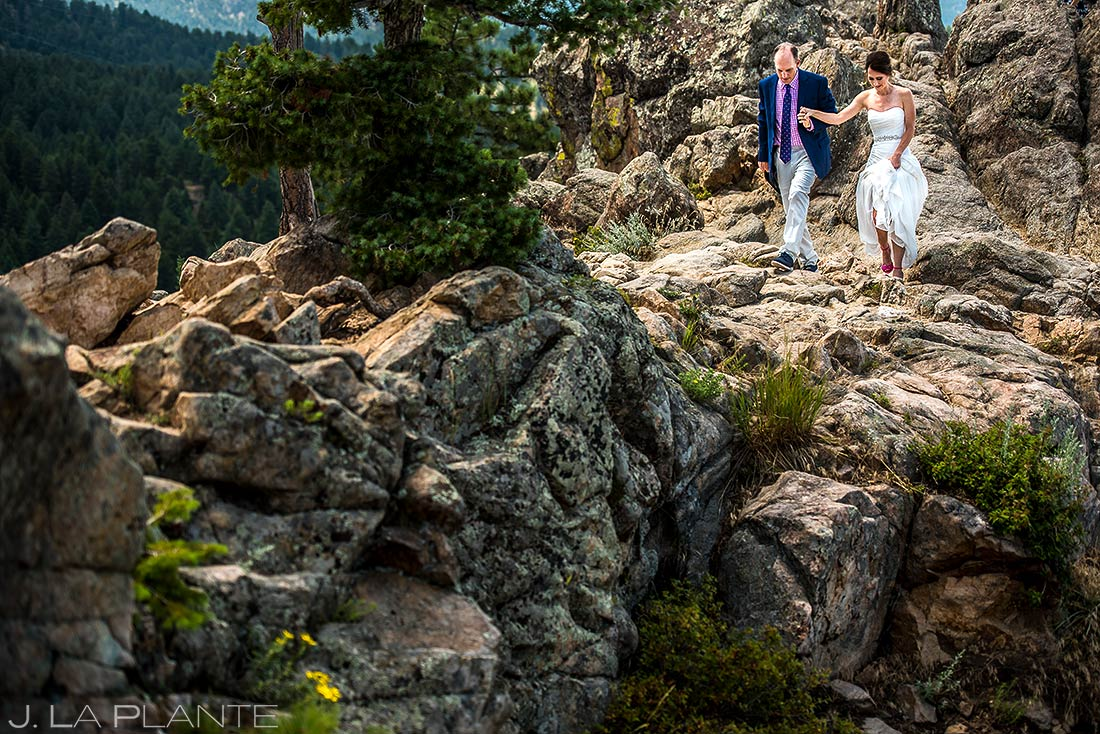 Bride and Groom on Flagstaff Mountain | Boulder Wedding Photographer | J. La Plante Photo