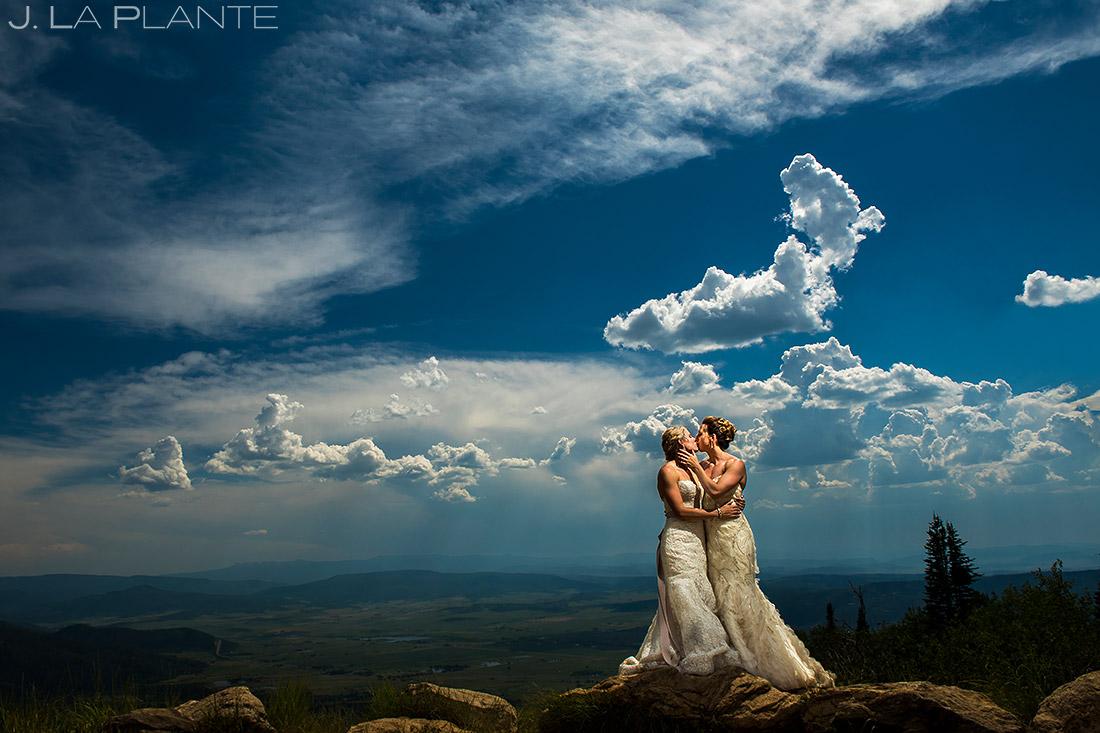Bride and Bride Wedding Portrait | Steamboat Springs Wedding | Colorado Wedding Photographer | J. La Plante Photo