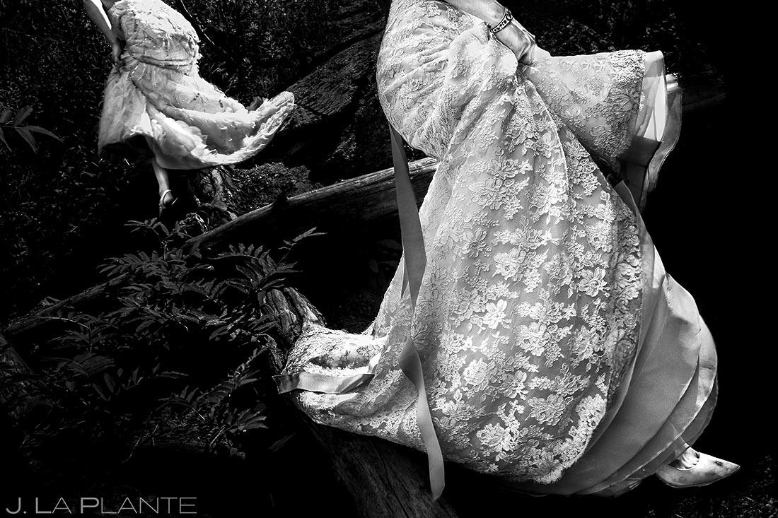 Brides Walking Through Woods | Colorado Wedding Photographer | J. La Plante Photo