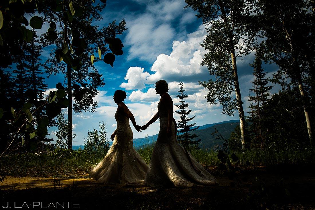 Bride and Bride Silhouette | Steamboat Springs Wedding | Colorado Wedding Photographer | J. La Plante Photo