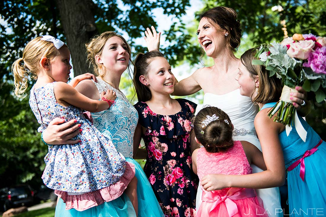 Bride Hugging Flower Girls | Chautauqua Park Wedding | Boulder Wedding Photographer | J. La Plante Photo