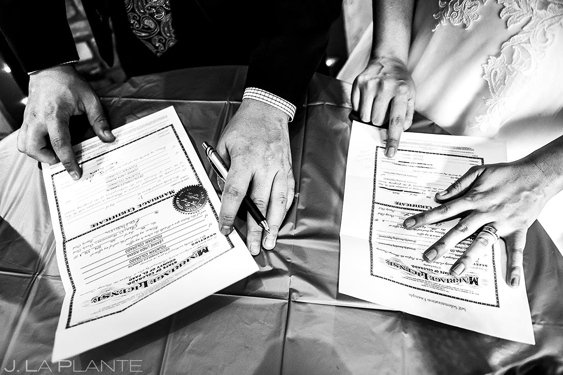 Marriage License | Lodge at Cathedral Pines Wedding | Colorado Springs Wedding Photographer | J. La Plante Photo