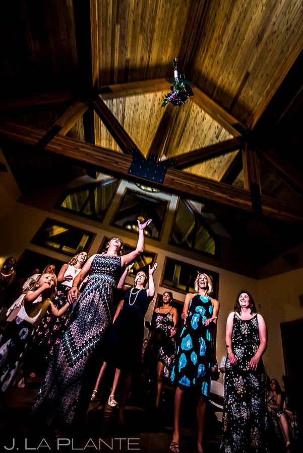 Bouquet Toss | Lodge at Cathedral Pines Wedding | Colorado Springs Wedding Photographer | J. La Plante Photo