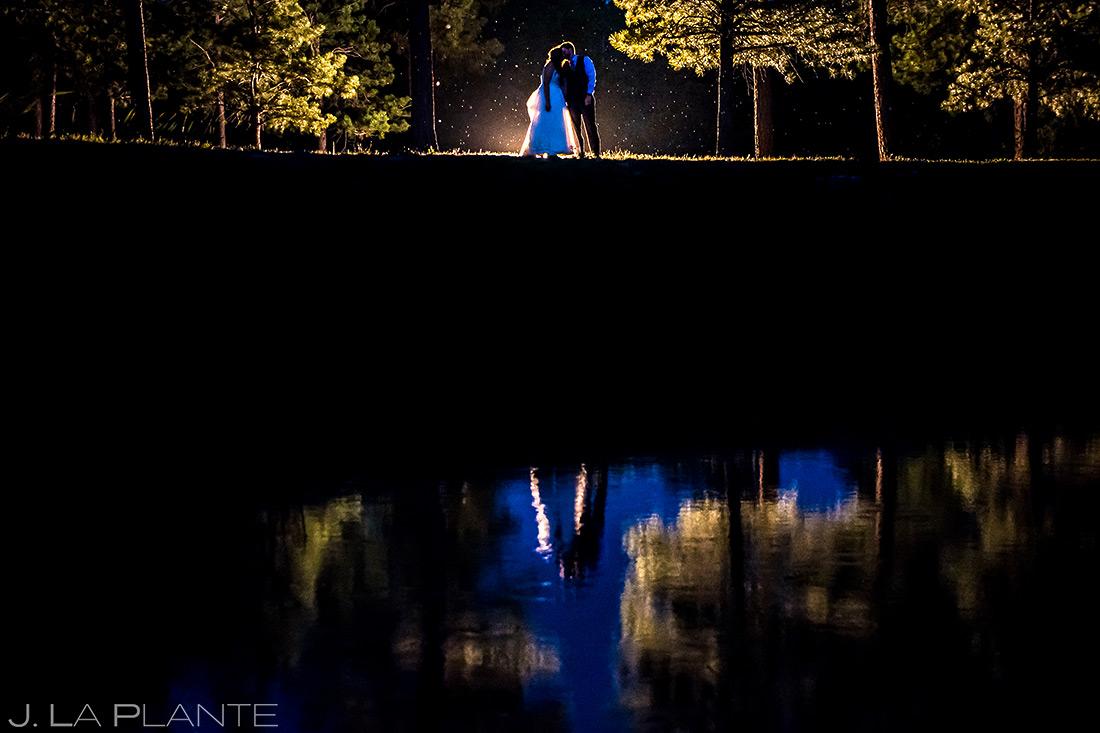 Bride and Groom Nighttime Wedding Photo   Colorado Springs Wedding Photographer   J. La Plante Photo