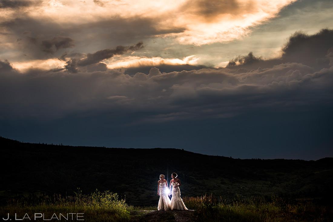Bride and Bride Sunset Wedding Photo | Steamboat Springs Wedding | Colorado Wedding Photographer | J. La Plante Photo
