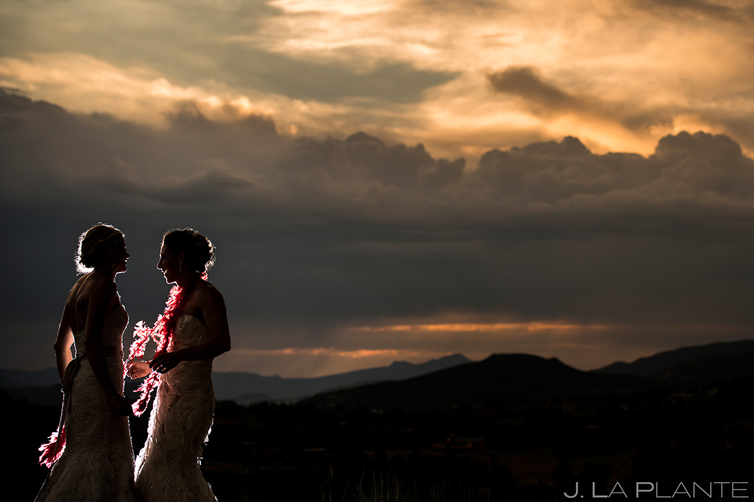 Bride and Bride Sunset Wedding Photo | Colorado Wedding Photographer | J. La Plante Photo