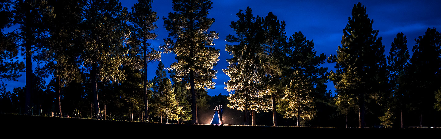 Bride and Groom Nighttime Wedding Photo | Lodge at Cathedral Pines Wedding | Colorado Springs Wedding Photographer | J. La Plante Photo