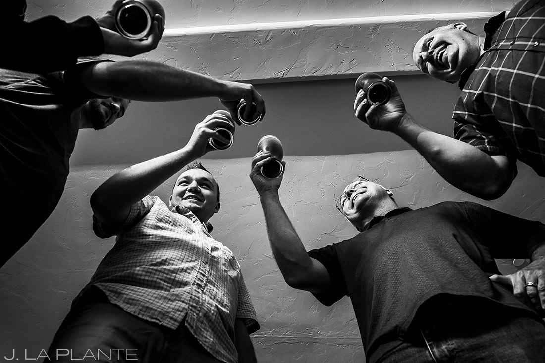 Groomsmen Drinking Beers | Della Terra Wedding | Estes Park Wedding Photographer | J. La Plante Photo