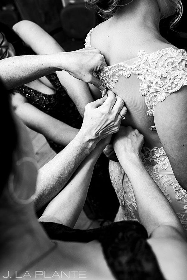 Bride Getting Into Dress | Estes Park Wedding Photographer | J. La Plante Photo