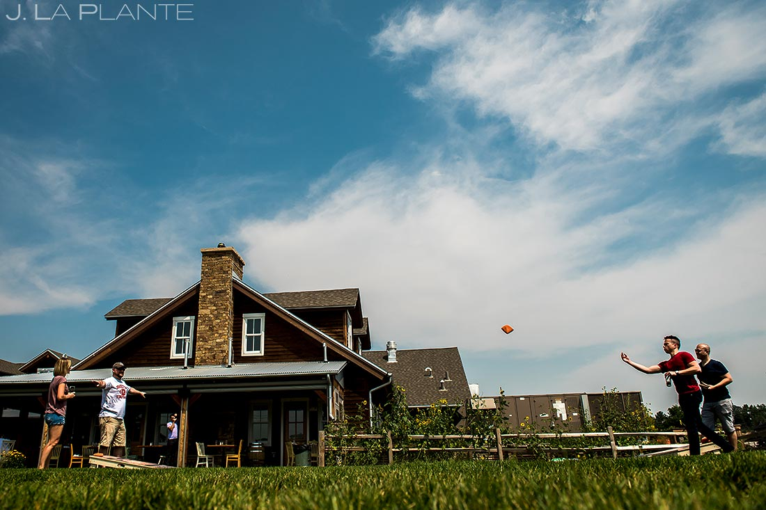 Groomsmen Playing Cornhole | Manor House Wedding | Denver Wedding Photographer | J. La Plante Photo