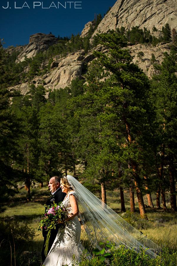 Bride Walking Down Aisle | Estes Park Wedding Photographer | J. La Plante Photo