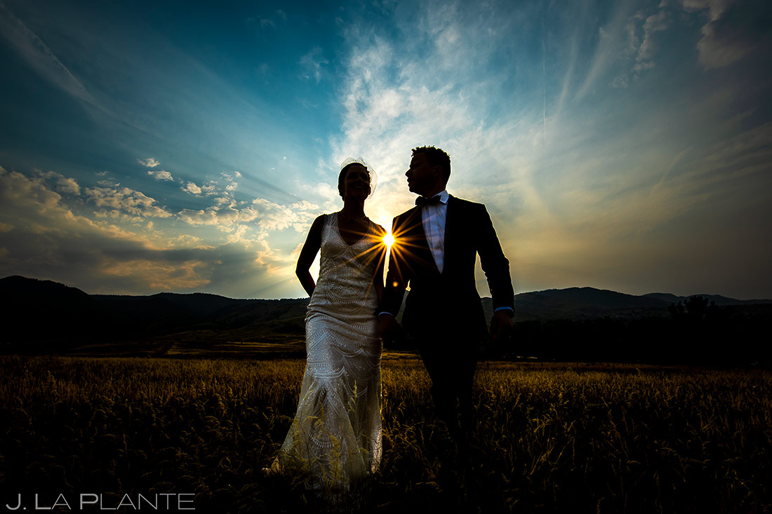 Bride and Groom Sunset Portrait | Littleton Colorado Wedding | Denver Wedding Photographer | J. La Plante Photo