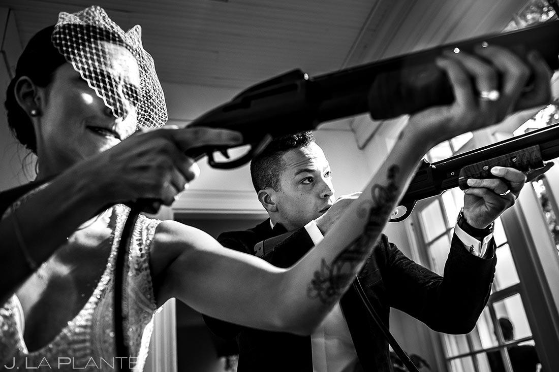 Bride and Groom Playing Big Buck Hunter | Littleton Colorado Wedding | Denver Wedding Photographer | J. La Plante Photo