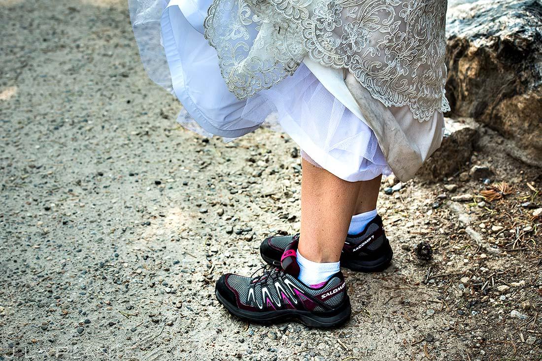 Bride's Hiking Shoes | Rocky Mountain National Park Wedding | Estes Park Wedding Photographer | J. La Plante Photo