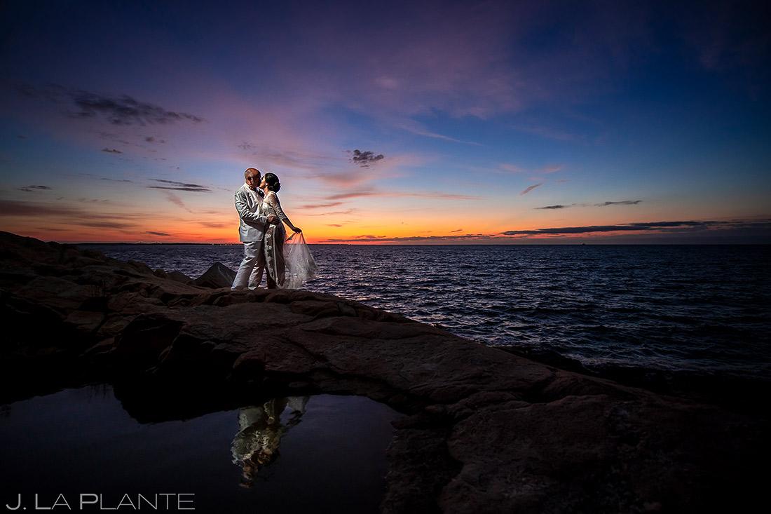 Bride and Groom Sunrise Wedding Portrait | Providence Wedding | Destination Wedding Photographer | J. La Plante Photo