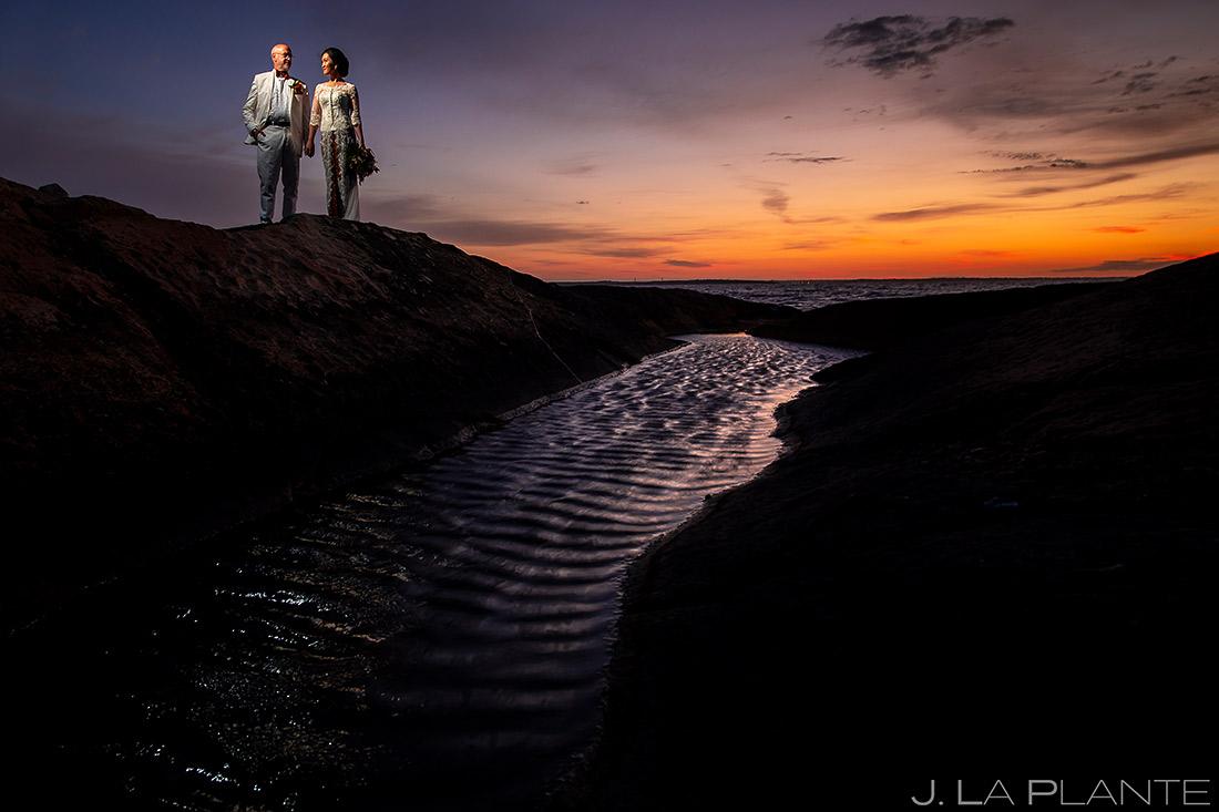 Bride and Groom Sunrise Wedding Portrait | Rhode Island Wedding | Destination Wedding Photographer | J. La Plante Photo