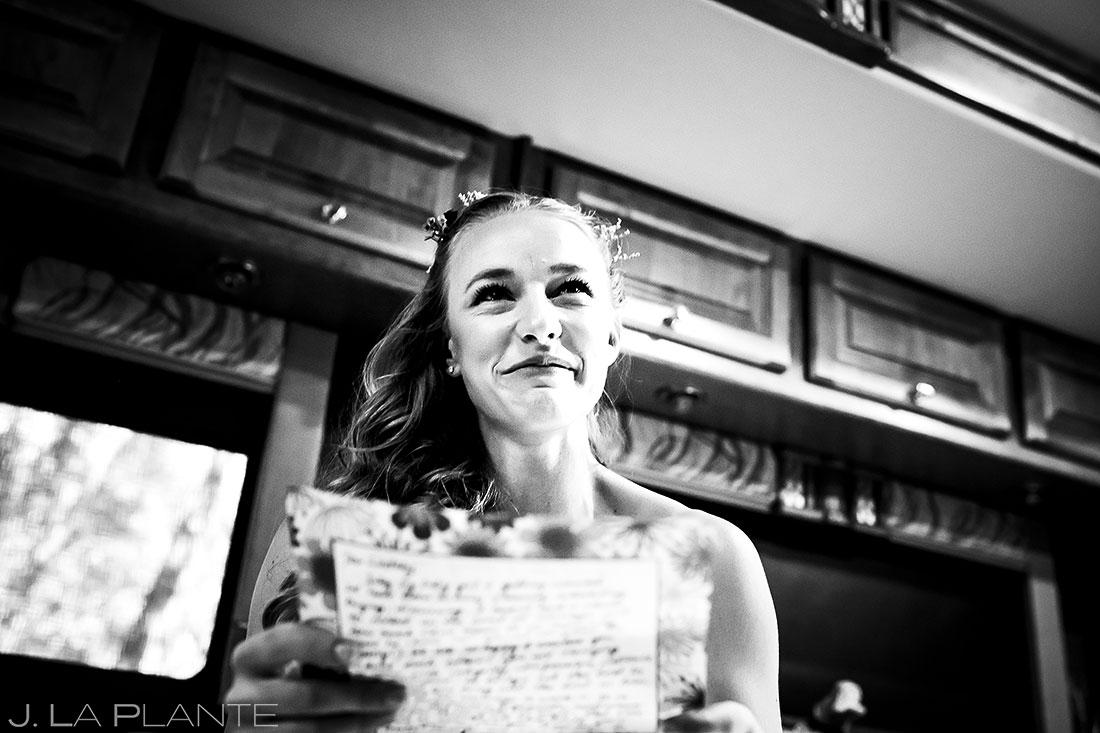 Bride Reading Groom's Letter | Rustic Mountain Wedding | Colorado Wedding Photographer | J. La Plante Photo