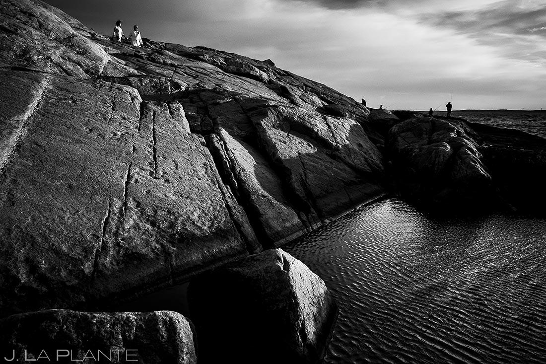 Bride and Groom Watching Sunrise Over Ocean | Rhode Island Wedding | Destination Wedding Photographer | J. La Plante Photo