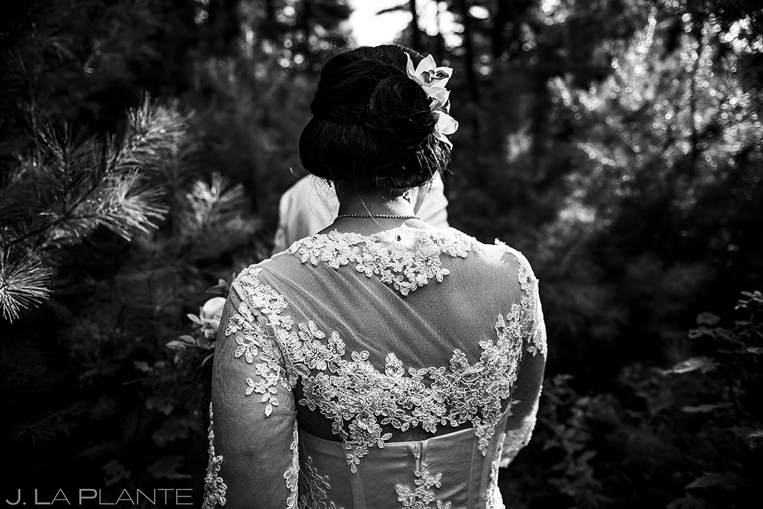 Bride and Groom Hiking in Woods | Rhode Island Wedding | Destination Wedding Photographer | J. La Plante Photo