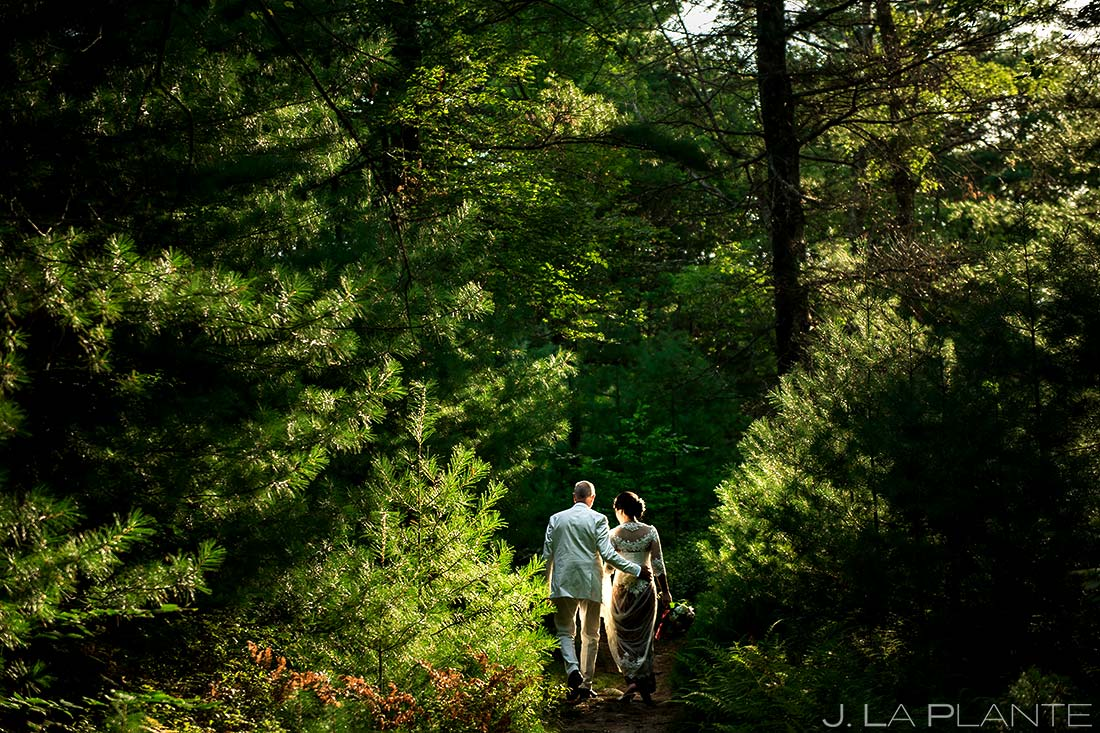Bride and Groom Hiking in Woods | Providence Wedding | Destination Wedding Photographer | J. La Plante Photo