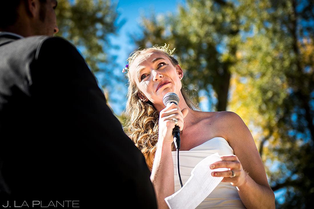 Bride Crying During Vows | Buena Vista Wedding | Rustic Mountain Wedding | Colorado Wedding Photographer | J. La Plante Photo